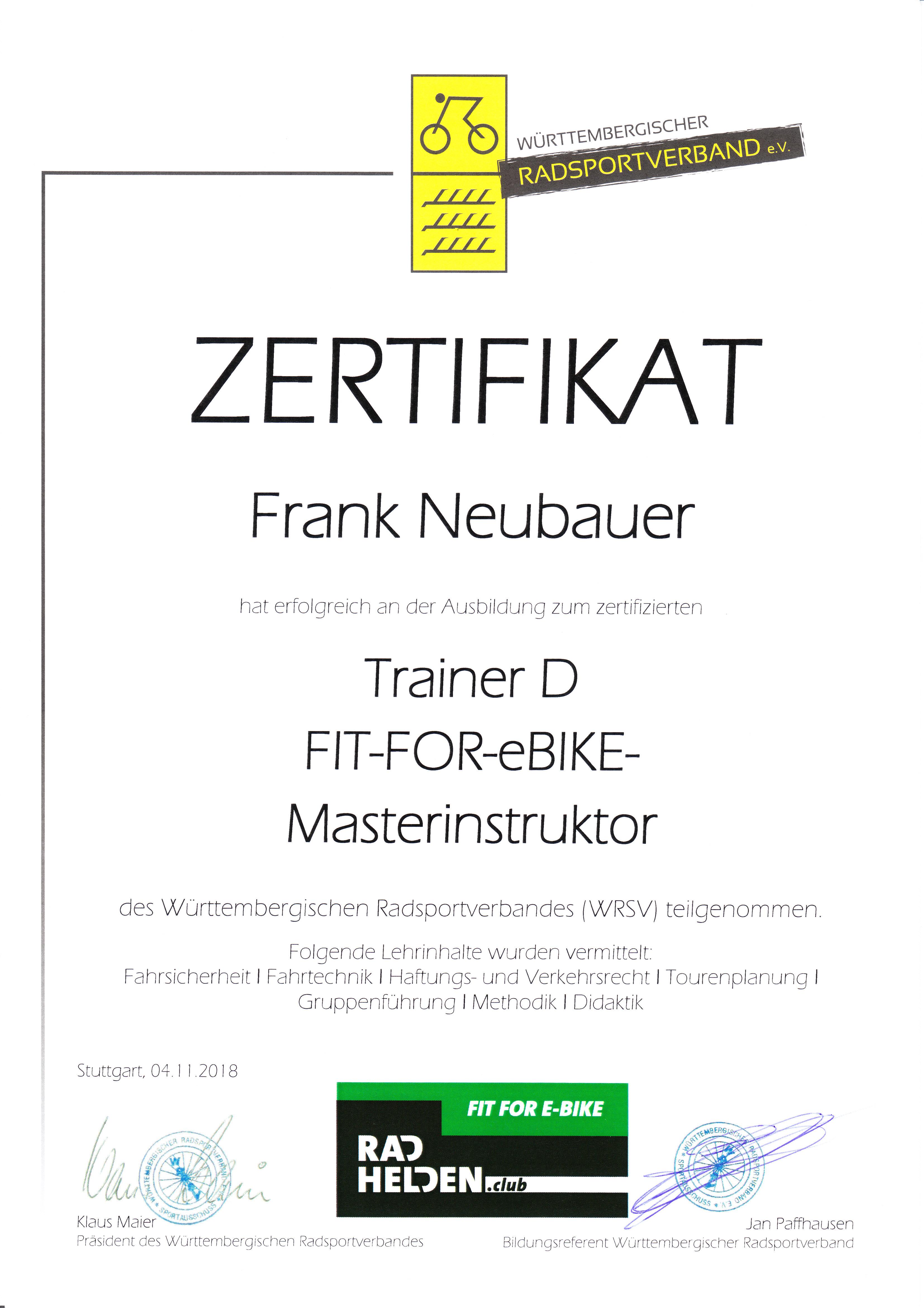 Masterinstruktor Zertifikat